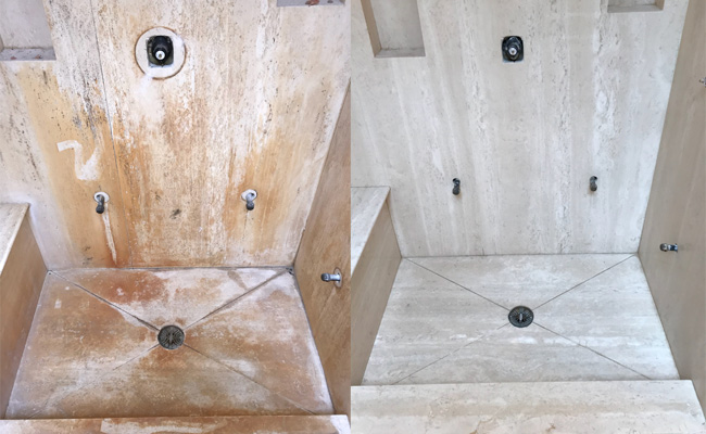 Travertine Shower Professional Cleaning