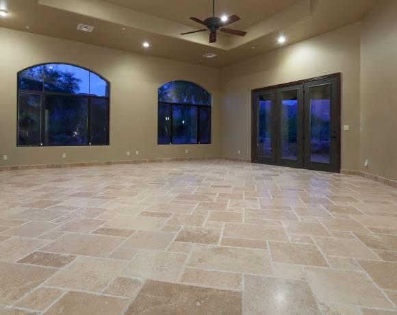 Newly restored travertine floor